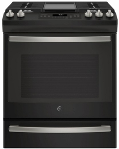 "JGS760FELDS GE 30"" Slide-In Front Control Gas Range with Convection and Self-Clean - Black Slate"