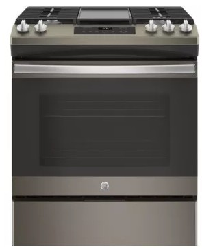 "JGSS66EELES GE 30"" Slide-In Front Control Gas Range with Steam Clean and In-Oven Broil - Slate"