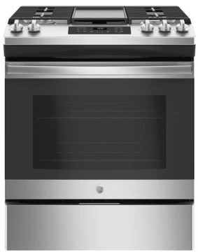 """JGSS66SELSS GE 30"""" Slide-In Front Control Gas Range with Steam Clean and In-Oven Broil - Stainless Steel"""
