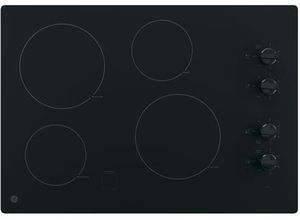 "JP3030DJBB GE 30"" Built-In Knob Control Electric Cooktop with 4 Cooking Elements - Black"