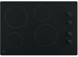 """JP3030DJBB GE 30"""" Built-In Knob Control Electric Cooktop with 4 Cooking Elements - Black"""