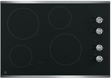 """JP3030SJSS GE 30"""" Built-In Knob Control Electric Cooktop with 4 Cooking Elements - Black with Stainless Steel"""