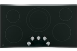 """JP3036SLSS GE 36"""" Built-In Knob Control Electric Cooktop with 5 Radiant Elements and Hot Surface Indicator Lights - Black with Stainless Steel Trim"""