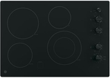 """JP3530DJBB GE 30"""" Built-In Knob Control Electric Cooktop with 4 Cooking Elements - Black"""