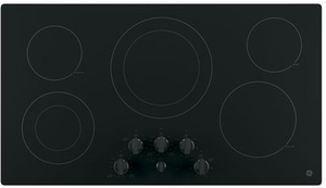"JP3536DJBB GE 36"" Built-In Knob Control Electric Cooktop with 5 Radiant Elements - Black"