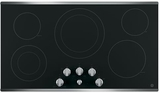 """JP3536SJSS GE 36"""" Built-In Knob Control Electric Cooktop with 5 Radiant Elements - Black with Stainless Steel"""