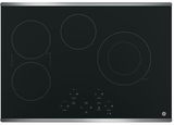 """JP5030SJSS GE 30"""" Built-In Touch Control Electric Cooktop with Digital Touch Controls - Black with Stainless Steel Trim"""