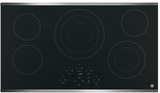 """JP5036SJSS GE 36"""" Built-In Touch Control Electric Cooktop with 5 Radiant Elements - Black with Stainless Steel Trim"""