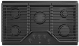 """JGP5036DLBB GE 36"""" Built-In Gas Cooktop with Sealed Cooktop Burners and Heavy-Duty Dishwasher Safe Grates - Black"""