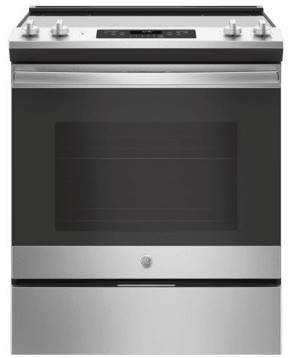 """JS645SLSS GE 30"""" Slide-In Front Control Electric Range with Power Boil and Self-Clean - Stainless Steel"""