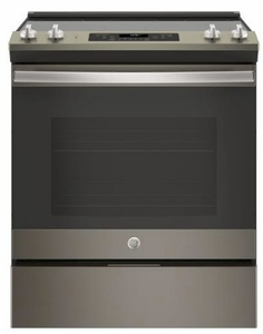 "JS660ELES GE 30"" Slide-In Front Control Electric Range with Dual-Element Bake and Self-Clean - Slate"