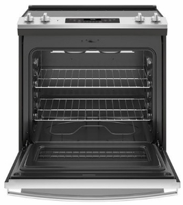 "JS660SLSS GE 30"" Slide-In Front Control Electric Range with Dual-Element Bake and Self-Clean - Stainless Steel"