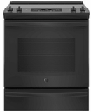 """JS760DLBB GE 30"""" Slide-In Front Control Electric Range with Dual-Element Bake and True European Convection - Black"""