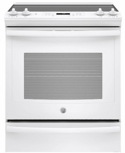 "JS760DLWW GE 30"" Slide-In Front Control Electric Range with Dual-Element Bake and True European Convection - White"