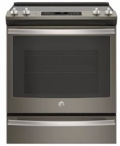 """JS760ELES GE 30"""" Slide-In Front Control Electric Range with Dual-Element Bake and True European Convection - Slate"""