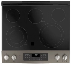 "JS760ELES GE 30"" Slide-In Front Control Electric Range with Dual-Element Bake and True European Convection - Slate"