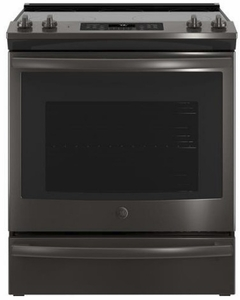 "JS760FLDS GE 30"" Slide-In Front Control Electric Range with Dual-Element Bake and True European Convection - Black Slate"
