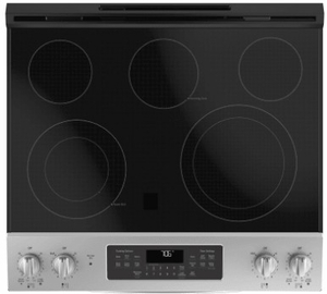"JS760SLSS GE 30"" Slide-In Front Control Electric Range with Dual-Element Bake and True European Convection"