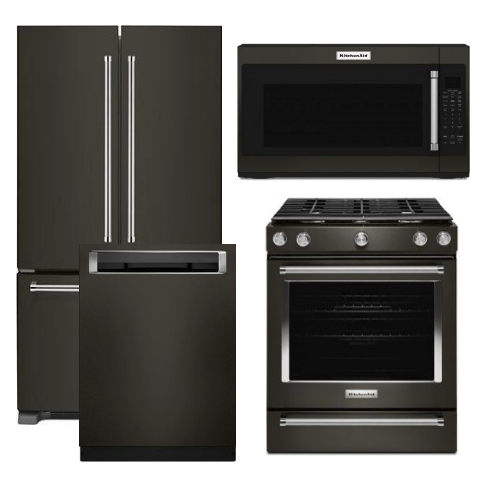 Package KB2 - Kitchen Aid Appliance Package - 4 Piece Appliance Package with Gas Range - Black Stainless Steel