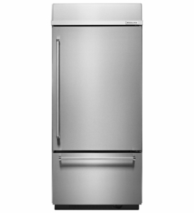 "KBBR306ESS KitchenAid 20.9 Cu. Ft. 36""  Built-in Bottom-Mount Refrigerator (Right Hinge) - Stainless Steel"