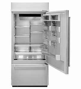 """KBBR306ESS KitchenAid 20.9 Cu. Ft. 36""""  Built-in Bottom-Mount Refrigerator (Right Hinge) - Stainless Steel"""