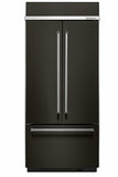 "KBFN506EBS KitchenAid 20.8 Cu. Ft. 36"" French Door Refrigerator with Preserva Food Care System and LED Lighting  - Black"