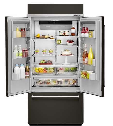 """Kitchenaid Black Stainless Steel French Door Refrigerator: KBFN506EBS KitchenAid 20.8 Cu. Ft. 36"""" French Door Refrigerator With Preserva Food Care System"""