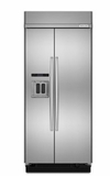"KBSD606ESS 36"" KitchenAid 20.8 Cu. Ft. Built-In Side-By-Side Refrigerator with ExtendFresh and SatinGlide Crispers - Stainless Steel"