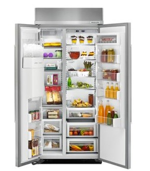 """KBSD606ESS 36"""" KitchenAid 20.8 Cu. Ft. Built-In Side-By-Side Refrigerator with ExtendFresh and SatinGlide Crispers - Stainless Steel"""