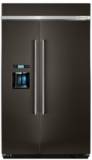 "KBSD608EBS KitchenAid 48"" Width Built-In Side by Side Refrigerator with Plus Temperature Management System - Black Stainless Steel"