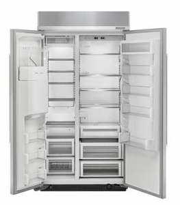 """KBSD612ESS 42"""" KitchenAid 25 Cu. Ft. Built-In Side-By-Side Refrigerator with ExtendFresh and SatinGlide Crispers - Stainless Steel"""