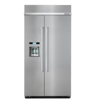 "KBSD612ESS 42"" KitchenAid 25 Cu. Ft. Built-In Side-By-Side Refrigerator with ExtendFresh and SatinGlide Crispers - Stainless Steel"