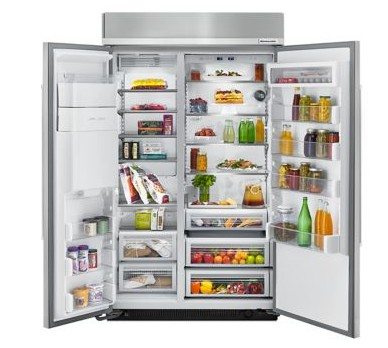 "KBSD618ESS 48"" KitchenAid 29.5 Cu. Ft. Built-In Side-By-Side Refrigerator with ExtendFresh and SatinGlide Crispers - Stainless Steel"