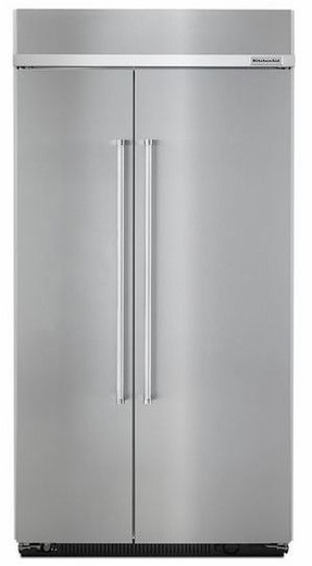"""KBSN602ESS KitchenAid 25.5 cu. ft. 42"""" Width Built-In Side by Side Refrigerator with ExtendFresh Plus Temperature Management System and SatinGlide Crispers - PrintShield Stainless Steel"""