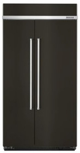 """KBSN608EBS KitchenAid 48"""" 30.0 Cu. Ft Built-In Side by Side Refrigerator with ExtendFresh Plus Temperature Management and SatinGlide Crispers - PrintShied Black Stainless Steel"""