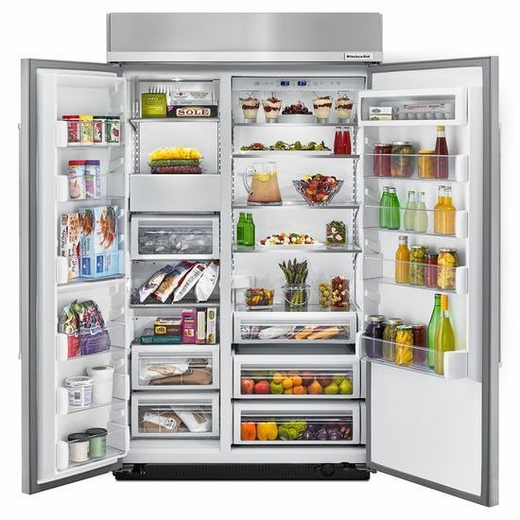 "KBSN608ESS KitchenAid 48"" 30.0 Cu. Ft Built-In Side by Side Refrigerator with ExtendFresh Plus Temperature Management and SatinGlide Crispers - PrintShied Stainless Steel"