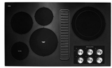 "KCED606GBL KitchenAid 36"" Electric Downdraft Cooktop with 300 CFM and 3-Speed Fan Control - Black"