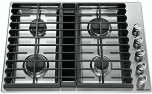 "KCGD500GSS KitchenAid 30"" 4 Burner Gas Downdraft Cooktop with 300 CFM and 3-Speed Fan Control - Stainless Steel"