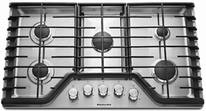 KCGS356ESS KitchenAid 36'' 5-Burner Gas Cooktop with Simmer Burner - Stainless Steel