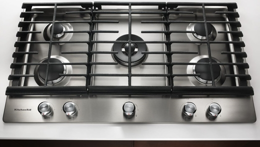 KCGS556ESS KitchenAid 36u0027u0027 5 Burner Gas Cooktop With Even Heat Simmer  Burner   Stainless Steel