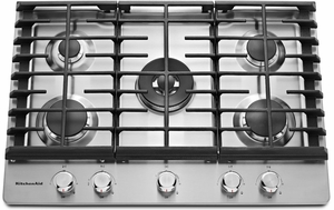 KCGS950ESS KitchenAid 30'' 5-Burner Gas Cooktop with Griddle & Dual Ring Burner - Stainless Steel