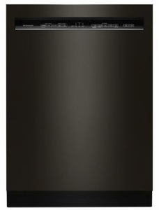 """KDFE104HBS KitchenAid  24"""" 46 DBA Front Control Dishwasher with PowerWash Cycle and SatinGlide Max Railes - PrintShield Black Stainless Steel"""