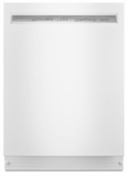 """KDFE104HWH KitchenAid  24"""" 46 DBA Front Control Dishwasher with PowerWash Cycle and SatinGlide Max Railes - White"""