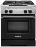 "KDRS407VBK KitchenAid 30"" Commercial Dual Fuel Range with EasyConvect Conversion System and Even-Heat True Convection - Imperial Black"