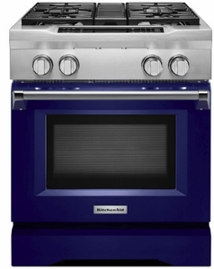 "KDRS407VBU KitchenAid 30"" Commercial Dual Fuel Range with EasyConvect Conversion System and Even-Heat True Convection - Cobalt Blue"