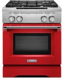 "KDRS407VSD KitchenAid 30"" Commercial Dual Fuel Range with EasyConvect Conversion System and Even-Heat True Convection - Signature Red"