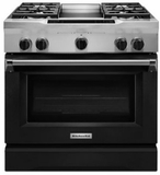 "KDRS463VBK KitchenAid  36"" Commercial Dual Fuel Range with EasyConvect Conversion System and Even-Heat True Convection - Imperial Black"