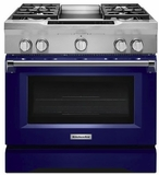 "KDRS463VBU KitchenAid  36"" Commercial Dual Fuel Range with EasyConvect Conversion System and Even-Heat True Convection - Cobalt Blue"
