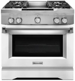 "KDRS463VMW KitchenAid  36"" Commercial Dual Fuel Range with EasyConvect Conversion System and Even-Heat True Convection - Imperial White"