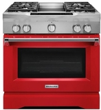 "KDRS463VSD KitchenAid  36"" Commercial Dual Fuel Range with EasyConvect Conversion System and Even-Heat True Convection - Signature Red"
